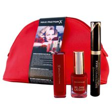 Max Factor Marilyn Monroe Lipstick kazeta, Marilyn Monroe Ruby Red rúž + Masterpiece Max maskara čierna + Gel Shine Lacquer Radian Ruby