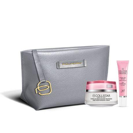 Collistar Idro-Attiva kazeta, Deep Moisturizing cream 50 ml + Eye Hydro-gel 8,5 ml + strieborná kozmetická taštička