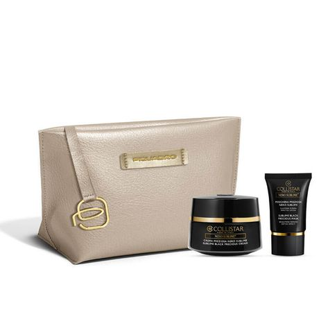 Collistar Sublime Black kazeta, Precious cream 50 ml + Sublime Black precious mask 15 ml + béžová kozmetická taštička