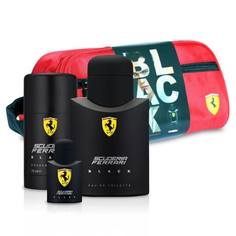 Ferrari Scuderia Ferrari Black kazeta, EdT 75 ml + tuhý dezodorant 75 ml + miniatúra 4ml