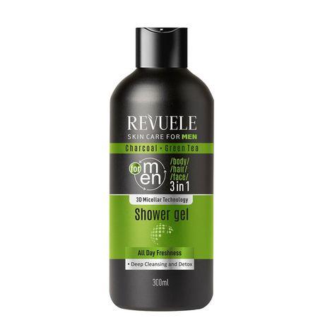 Revuele Men Care gél 300 ml, Charcoal and Green Tea 3in1 Body, Hair, Face Shower Gel