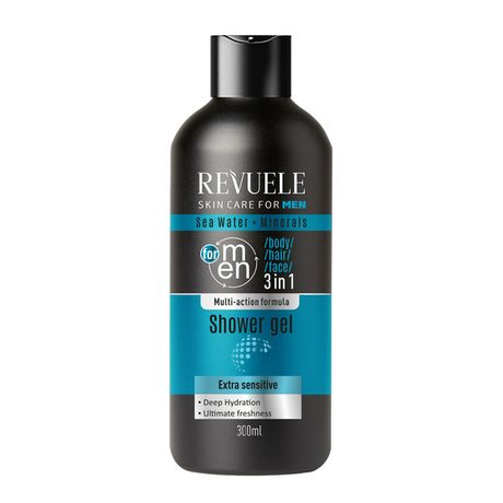 Revuele Men Care gél 300 ml, Sea Water and Minerals 3in1 Body, Hair, Face Shower Gel