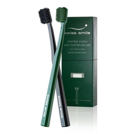 Swiss Smile Herbal zubná kefka 1 ks, 2x zubná kefka Black + Green